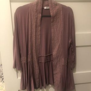 Dusty purple cardigan with lace detail